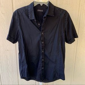 Authentic 7 Diamonds Black Button Short Sleeve | L